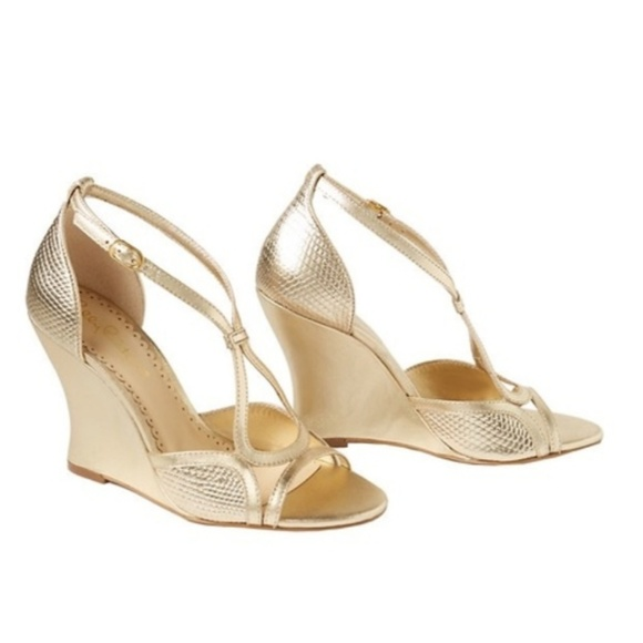 08718656e22 Lilly Pulitzer Shoes - Lilly Pulitzer Janie Gold Wedge